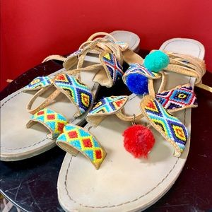 Shoes - TRIBAL Embroidered PomPom LaceUp Gladiator Sandals